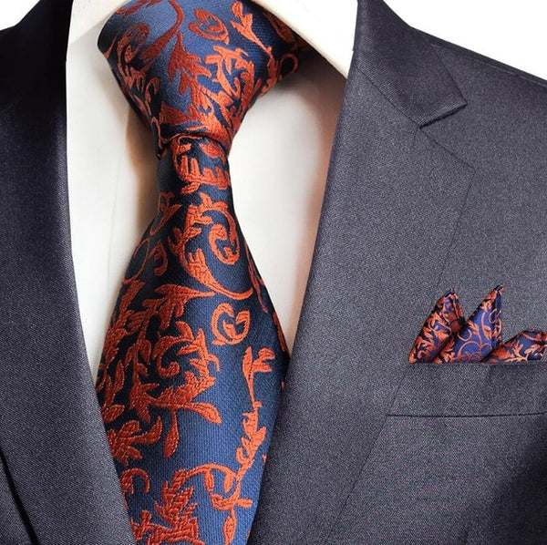 GUSLESON New Paisley Jacquard Woven Silk Mens Tie Handkerchief Set Neck Tie 8cm Striped Ties for Men Suit Business Wedding