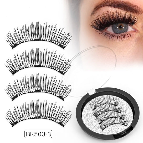 Genailish Magnetic Eyelashes 3D definition false Lashes with 3 magnets Handmade Cilios Posticos wholesale Eyelash Extensions