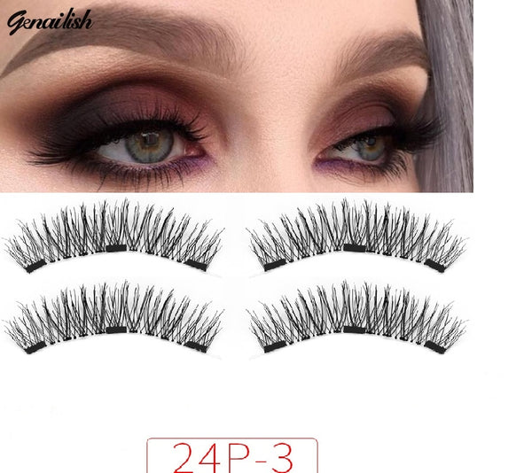 Genailish no glue Lashes Magnetic False Eyelashes 3 Magnet Magnetic Eyelashes   Magnetic Eye Lashes Makeup 24P-3