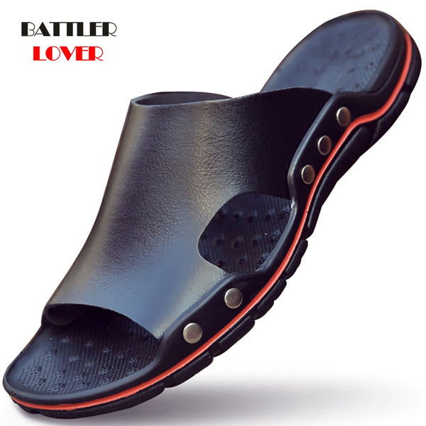 Genuine Cow Leather Slippers Couple Outdoor Non-slip Men Women Home Fashion Casual Single Shoes PVC Soft Soles Spring Summer