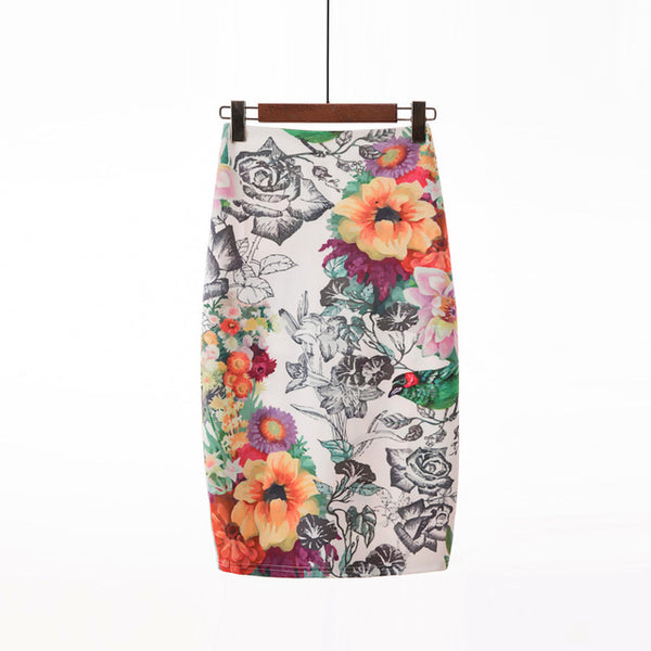 Gorgeous Cartoon Summer Skirts Womens 2019 Floral Print Knee Length High Waist Pencil Skirt Bodycon Vintage Girls Female Bottoms