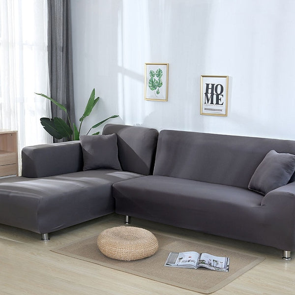 Grey Color Tight Wrap Sofa Cover Elastic Needs Order 2 Pieces Sofa Cover If L-style Sectional Corner Sofa capa de sofa