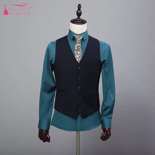 Groom's Vest Fashion Trendy Suit Groom Wear Black Vests In Stock Size165-190 DQG294