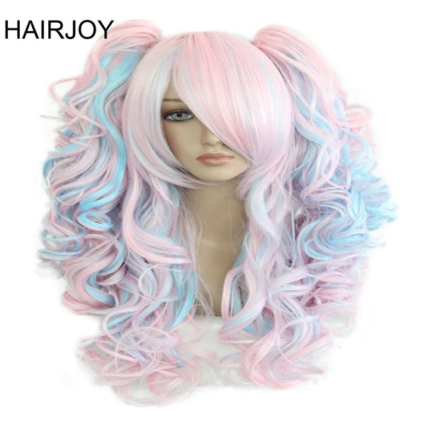 HAIRJOY Women 70cm Long Blue Mixed Pink Wavy Braided 2 Ponytails Synthetic Party Cosplay Wig 15 Colors Available