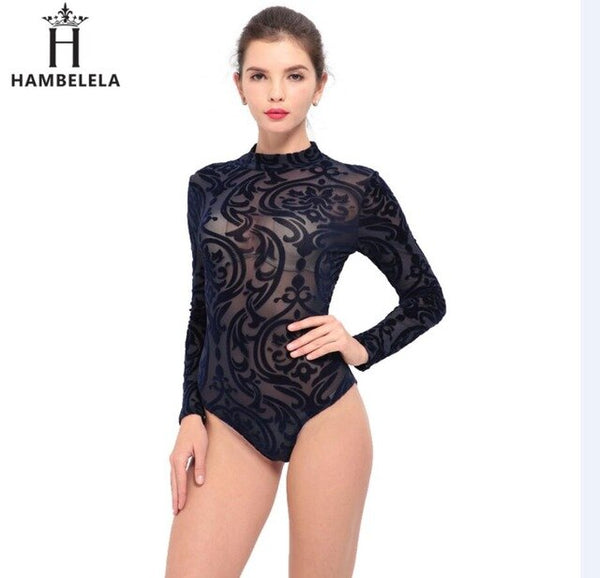See Through Sexy Bodysuit Women Rompers Bodycon Jumpsuit Transparent Bodysuits Women Long Sleeve Mesh Bodysuit