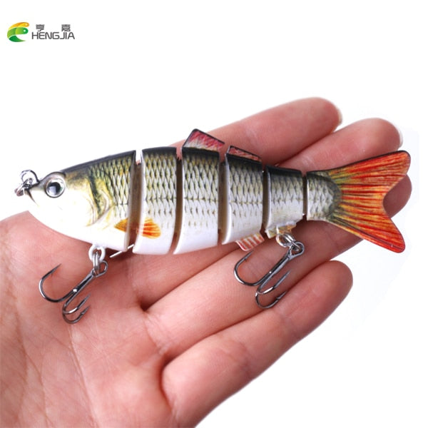 HENGJIA 1PCS 10cm 19g Fishing Wobblers 6 Segments Swimbait Crankbait Fishing Lure Bait with Artificial Hooks