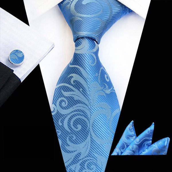 HOT!! Men's Classic 8CM Silk Necktie ( Neck Tie Pocket Square Cufflinks Set ) Floral Neckties Handkerchief Lot For Wedding Party