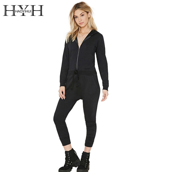 HYH HAOYIHUI Solid Black Women Jumsuit Autumn High Waist Long Sleeve Jumpsuit Street Metallic Female Casual Slim Jumpsuits