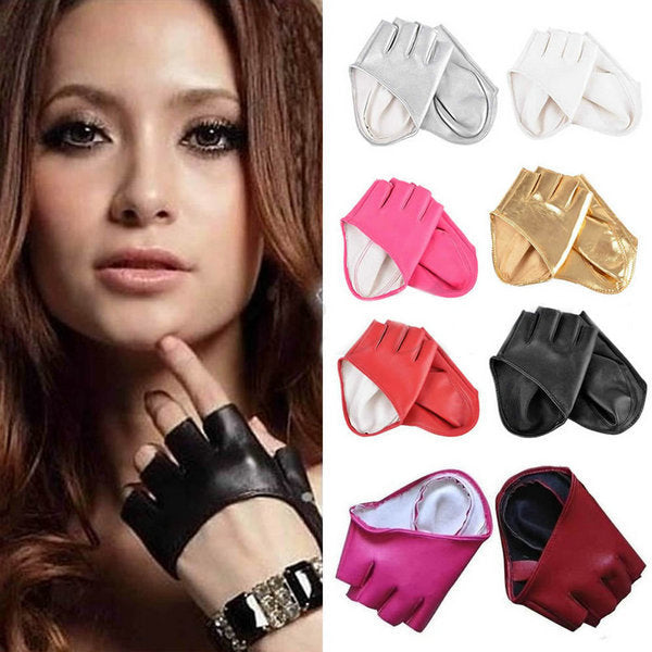 Half Finger PU Leather Gloves Lady Fingerless Driving Show Gloves