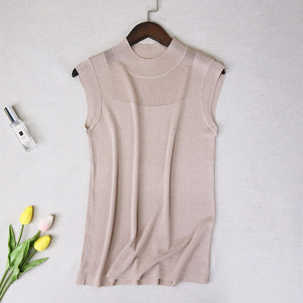 Half High Collar Sexy Tank Tops Women Sleeveless Knitted Vest Female Elasticity Solid Slim Pullover Summer Solid Bottoming