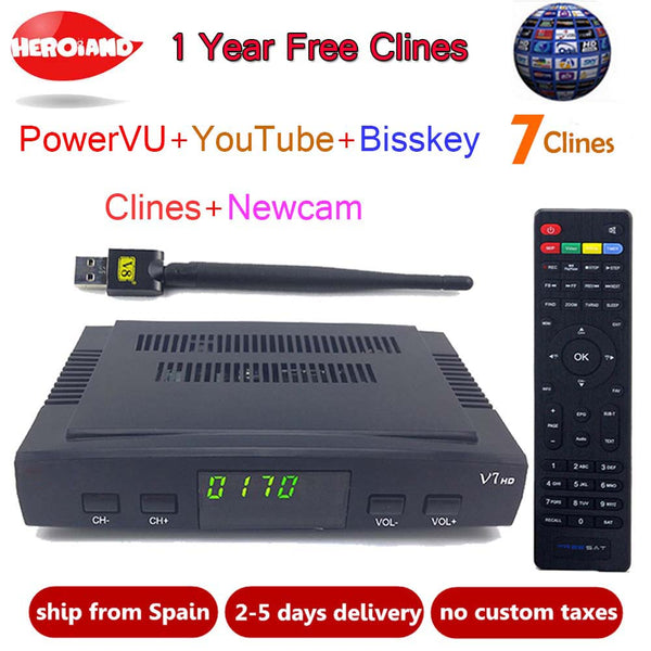HeroIand1 Year Europe clines server DVB-S2 V7 HD Receptor satellite Decoder+USB WIFI 1080p HD youtube Powervu satellite receiver