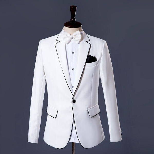 High-Quality White Suit  Black Trim High-End Atmosphere Attending Important Banquet Meetings Quality Assurance Groom's clothing