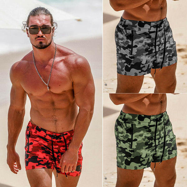 Hot Men's Board Short Camouflage Print Summer Casual Sports Gym Shorts Running Jogging Trunks Male Beach Short