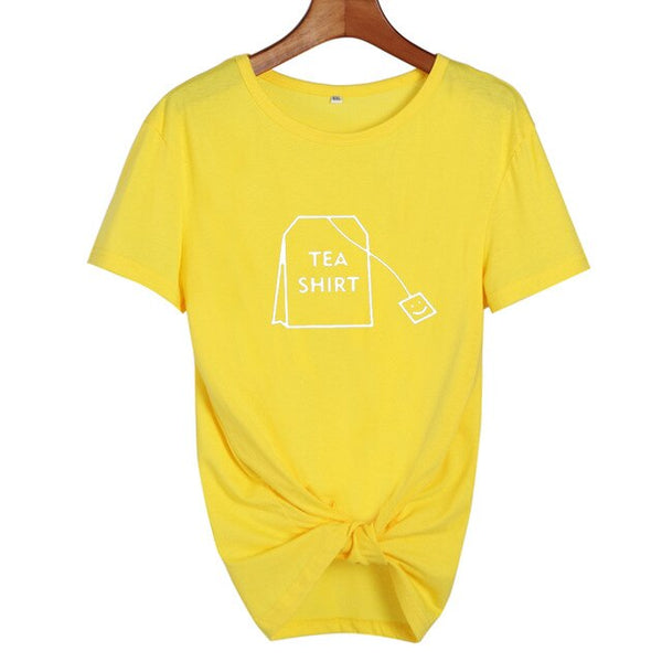 Humor Tea Tshirt Cute Graphic Tees Tea Lovers Funny T Shirts Women Summer Casual Cotton T-shirt Tumblr Tops Harajuku Fashiong