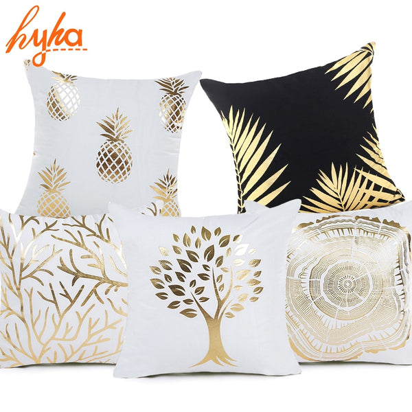 Hyha Plant Bronzing Cushion Cover Tropical Plant Cotton Polyester Bohemian Printed Marine life Home Decorative Pillows Cover
