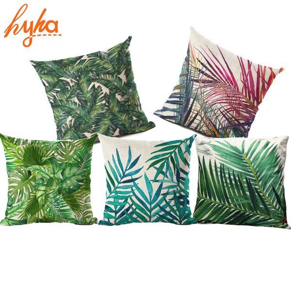 Hyha Plant Monstera Cushion Cover Tropic Tree Green Throw Pillow Cover Flamingo Bird Decorative Pillows Flower for Sofa Car