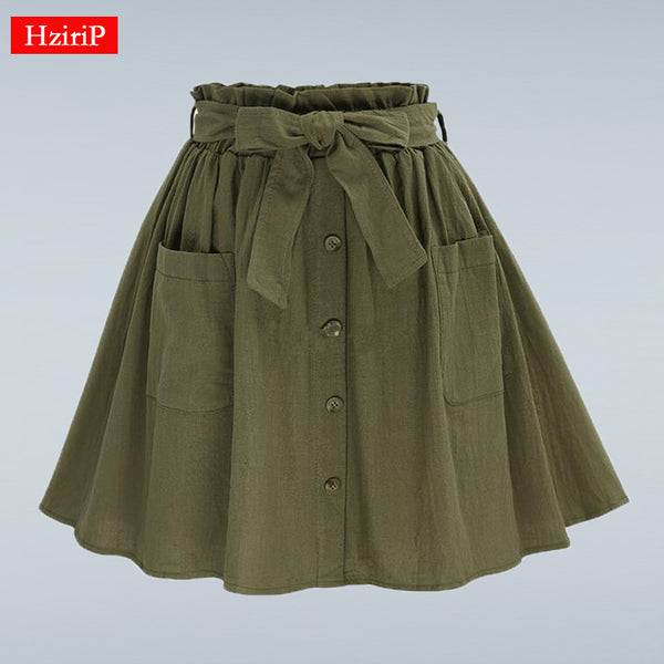 HziriP Women Skirts Vintage High Waist Pocket Solid Bow Belt Midi Skirt New Arrival Summer Europe Army Green Girls Skirt Faldas