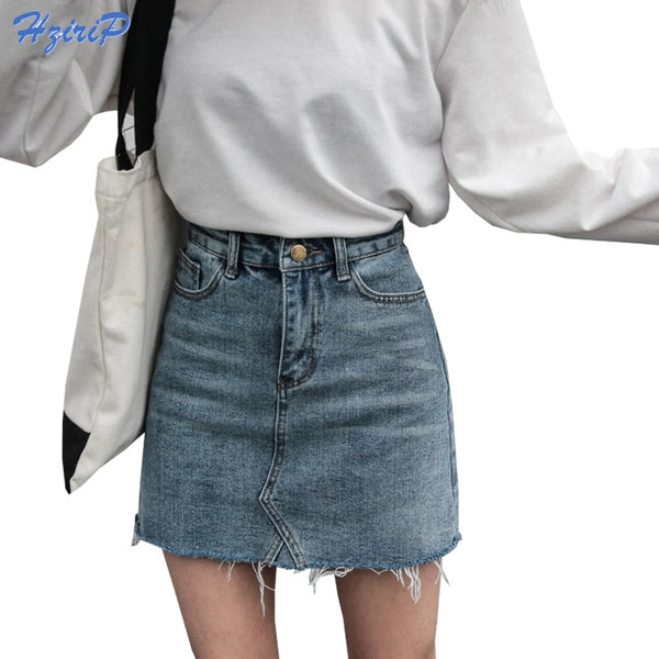 Hzirip Summer Fashion High Waist Skirts Womens Pockets Button Denim Skirt Female Saias New All-matched Casual Jeans Skirt
