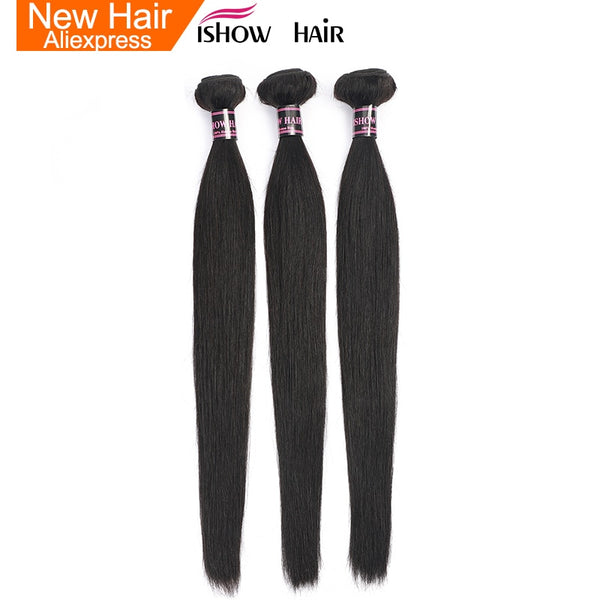 Ishow Malaysian Straight Hair Bundles 100% Human Hair Weave Bundles Natural Color Non Remy Hair Extensions Buy 3 or 4 Bundles
