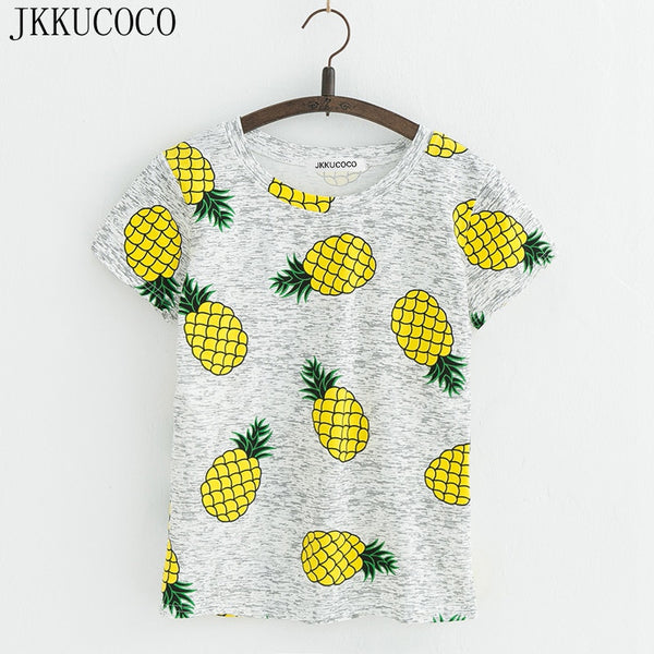 JKKUCOCO Hot Style Pineapple Print Tees Short Sleeve T-shirt Women t shirt Summer Cotton t-shirt Women Tops Causal t-shirts