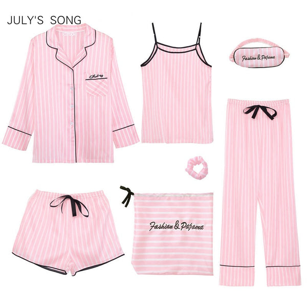 JULY'S SONG Pink Women's 7 Pieces Pajamas Sets Faux Silk Striped Pyjama Women Sleepwear Sets Spring Summer Autumn Homewear