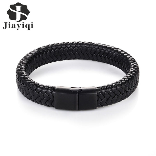 Men Jewelry Punk Black Braided Geunine Leather Bracelet Stainless Steel Magnetic Buckle Fashion Bangles 22/20.5cm