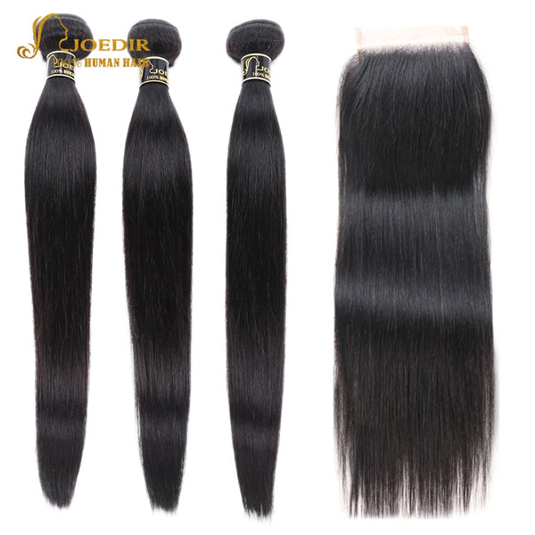 Joedir Hair Pre-colored Human Hair Bundles With Closure Brazilian Hair Straight Non Remy 3 Bundles With Closure Free Shipping
