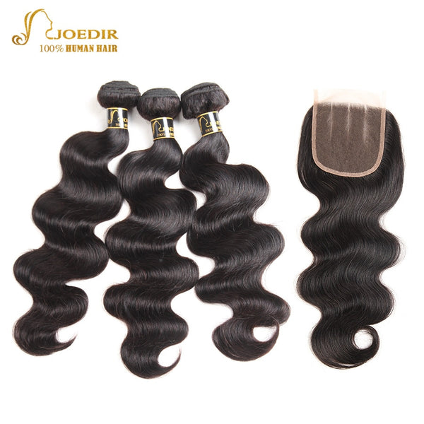 Joedir Pre-colored 4 Bundles With Closure Malaysian Body Wave Hair Non Remy Human Hair Weave Bundles With Closure Free Ship