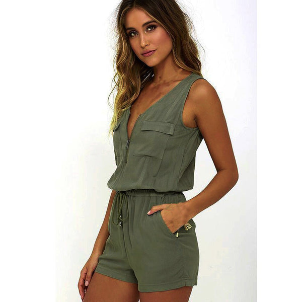 Jumpsuit Women Summer - New Ladies Sexy Sleeveless Playsuit Solid Casual Beach Jumpsuit Romper Freeship F#J07