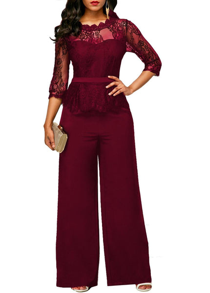 Women Sexy High Waist Palazzo Jumpsuit 3/4 Sleeve One Piece Lace Peplum Jumpsuit With Long Wide Leg Pant Three Quarter