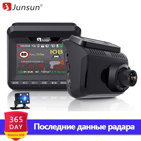 Junsun Car DVR Radar Detector GPS 3 in 1 FHD 1296P Video Recorder Cam Dash Camera Antiradar Tripods Arrow Robot Avtodoria