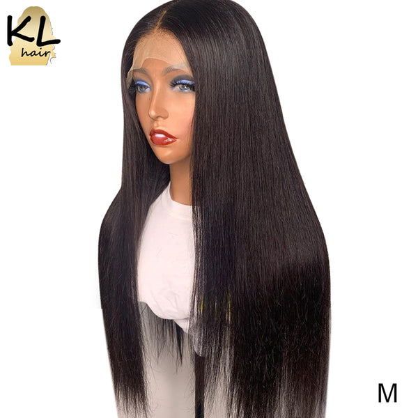 KL Lace Front Human Hair Wigs Straight Pre Plucked With Baby Hair 8-26 Inch Brazilian Remy Human Hair 130% Density 13x4 Lace Wig