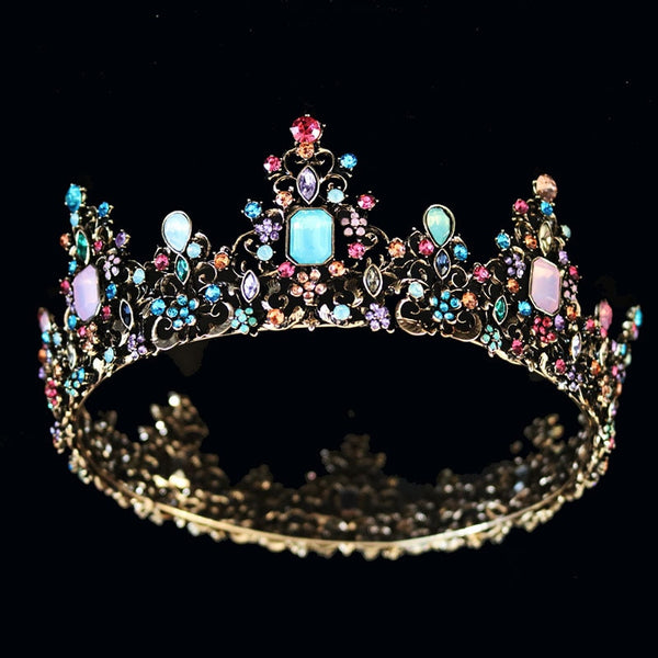 KMVEXO Baroque Royal Queen Crown Colorful Jelly Crystal Rhinestone Stone Wedding Tiara for Women Costume Bridal Hair Accessories