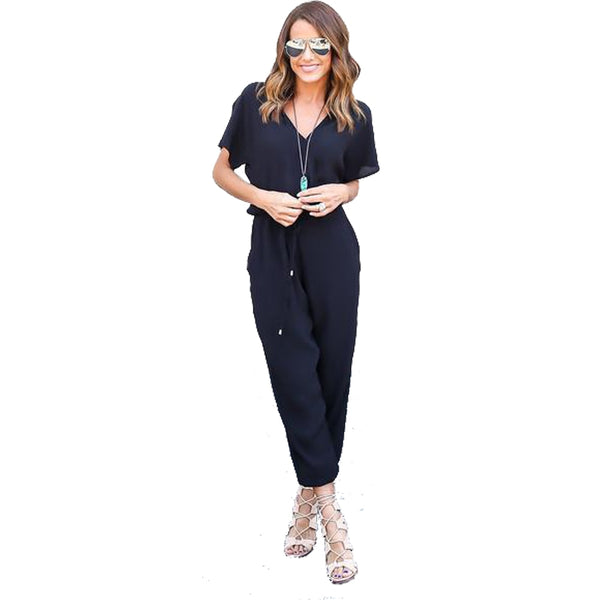 Kaywide Summer Sexy V Neck Pleated Waist Pocket Rompers Womens Jumpsuit Loose Cross Overalls Short Sleeve Playsuit S-XL
