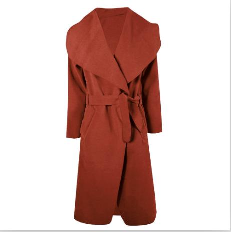 Kenancy Winter Coat Women Wide Lapel Belt Pocket Wool Blend Coat Oversize Long Red Trench Coat Outwear Wool Coat Women
