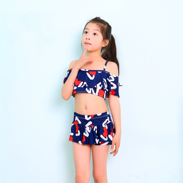 Kids 2 Pieces Swimsuits For Girls Printing Polyester Two Pieces Swim Suit Children Swimwear Hot Spring Bathing Suit Girl Bikini