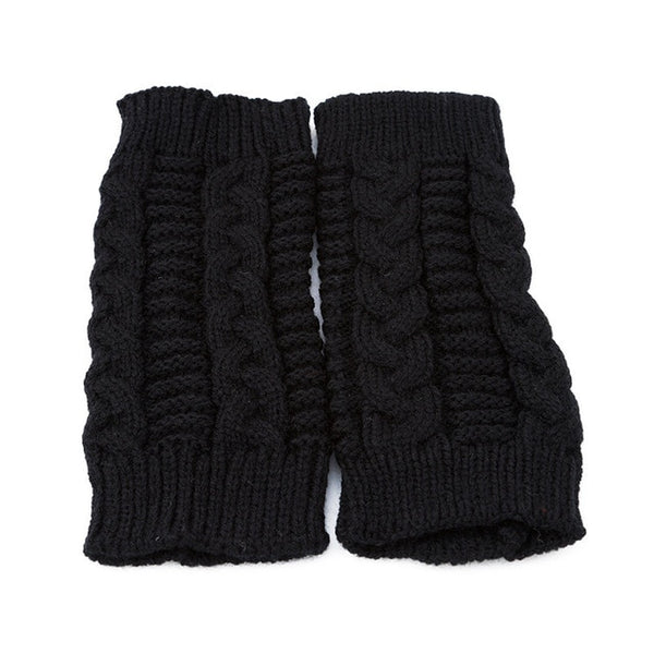 Knitted Long Hand Gloves Women's Warm Embroidered Winter  Gloves Fingerless Gloves For Women Girl Guantes Invierno Mujer Luvas