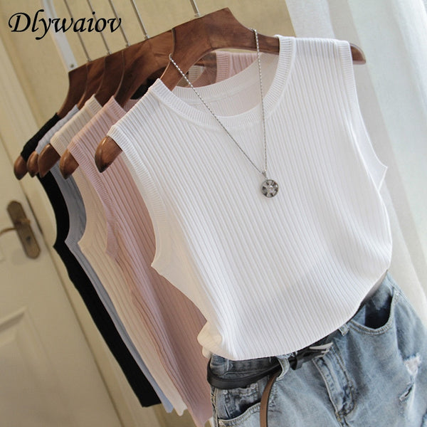 Knitted Vests Women Top O-neck Solid Tank Fashion Female Sleeveless Casual Thin Tops - Summer Knit Woman Shirt Gilet Femme