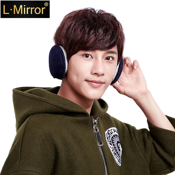 L.Mirror 1Pcs Warm Velvet Winter Pure Color Earmuffs Neck Protection Adjustable Wrap