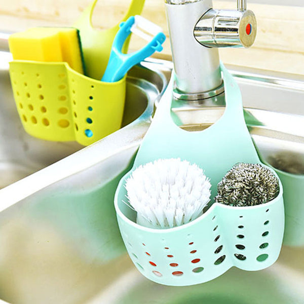 LASPERAL Adjustable Snap Sink Sponge Storage Rack Hanging Basket Bathroom Accessory Kitchen Organizer Hanging Storage Holder