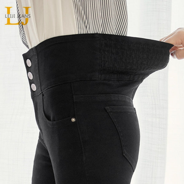 LEIJIJEANS autumn high waist slim ladies jeans button fly elastic waist legging jeans plus size stretchy black women jeans