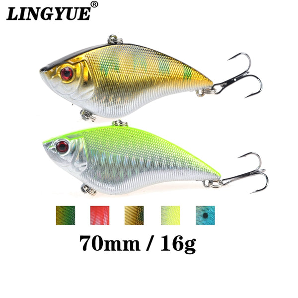 LINGYUE Hard Wobblers 7cm 16G Plastic VIB Fishing Lures Artificial Bait 6# Treble Hooks Long Shot Sinking Crankbait Tackle Y032