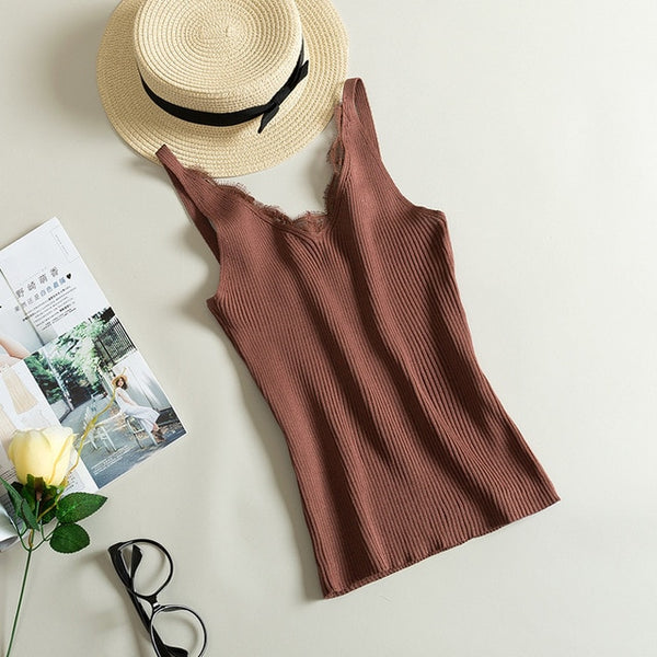 Lace Knitted Tank Tops Female Sexy V-neck Vest Plus size Solid Club Tops Women Black Beige T shirt Cotton Polyester Tank Top