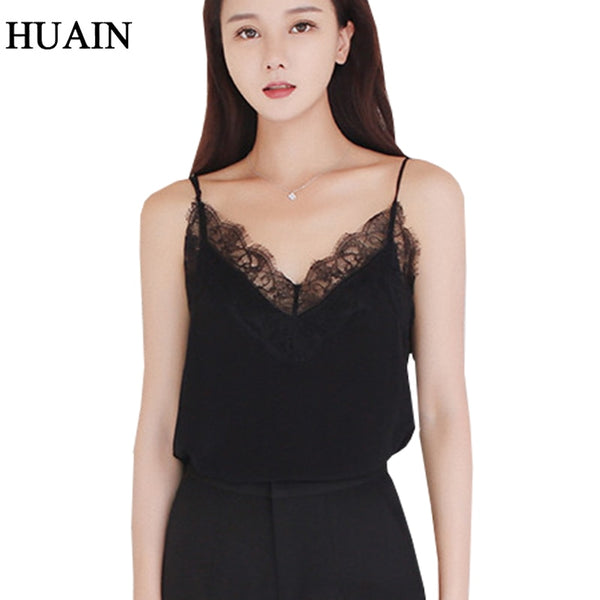 Lace Top Camis Sexy Tank Top Women Camisole Ladies - New Solid Colour V-Neck Sleeveless Shirt Backless Summer Shirt Female