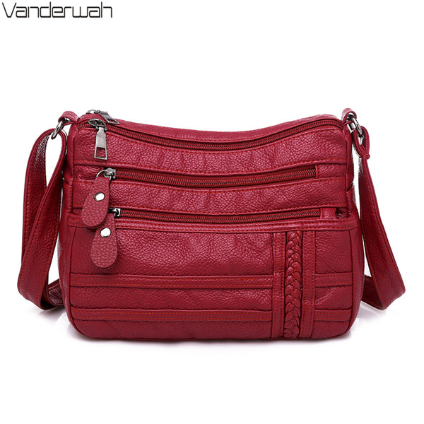 Ladies Multi-pocket Messenger Bag High Quality Soft PU Leather Shoulder Bags Casual Crossbody Bags for Women Bolsa Feminina