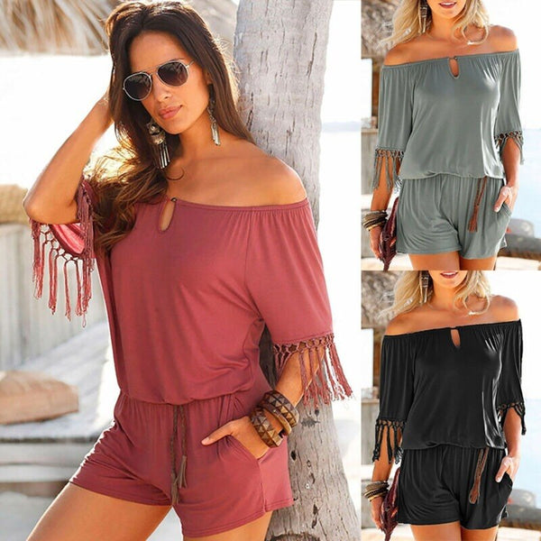 Ladies Womens Tassels Off Shoulder Mini Jumpsuits Summer Beach Playsuits Romper