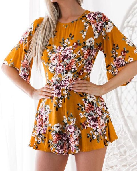 Ladies Wommen Jumpsuits Floral Print Short Sleeve Playsuits Sexy Backless Party Clubwear Summer Rompers Jumpsuit Short