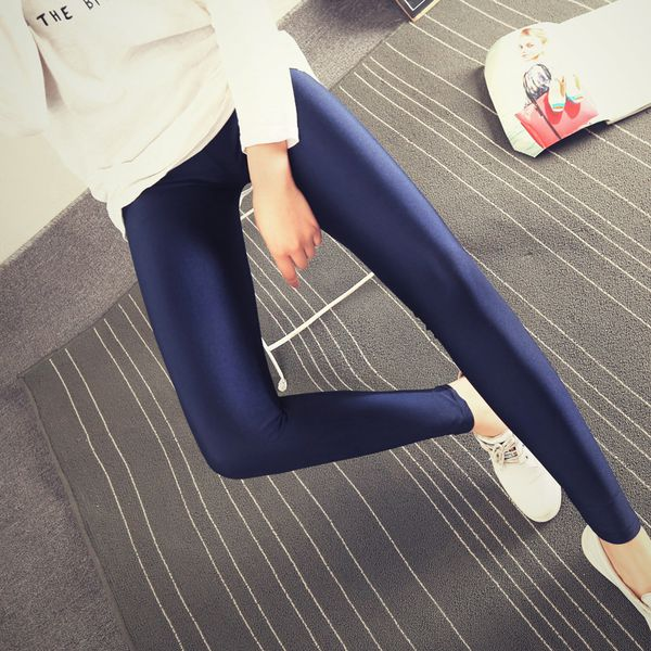 Lady Solid Candy Color Neon Leggings high elastic Skinny Pants soft thin legins Workout slim Pants casual spandex legging