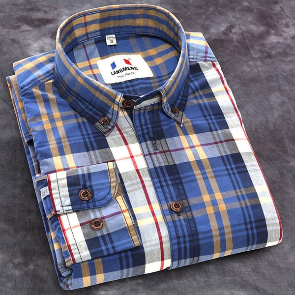Langmeng new autumn spring mens plaid casual shirts long sleeve 100% cotton dress shirt men retro style camiseta masculina