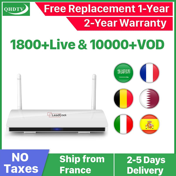 Leadcool QHDTV IPTV France Box 1 Year Code IPTV Spain French Belgium Netherlands Android 8.1 TV Box Arabic France IPTV Top Box
